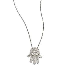 Roberto Coin Tiny Treasures Diamond & 18K White Gold Hamsa Pendant Necklace
