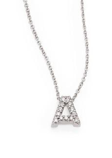 Roberto Coin Tiny Treasures Diamond & 18K White Gold Love Letter Initial Pendant Necklace