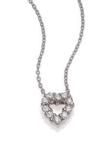 Roberto Coin Tiny Treasures Diamond & 18K White Gold Mini Heart Pendant Necklace