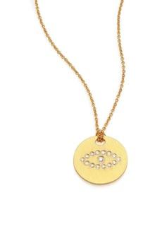 Roberto Coin Tiny Treasures Diamond & 18K Yellow Gold Evil Eye Disc Pendant Necklace