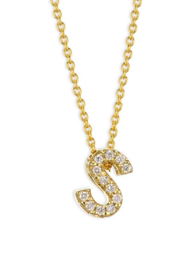 Roberto Coin Tiny Treasures Diamond & 18K Yellow Gold Letter S Pendant Necklace