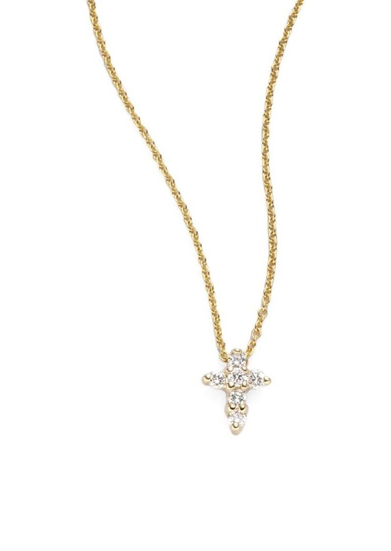 Roberto Coin Tiny Treasures 0.11 TCW Diamond & 18K Yellow Gold Baby Cross Pendant Necklace