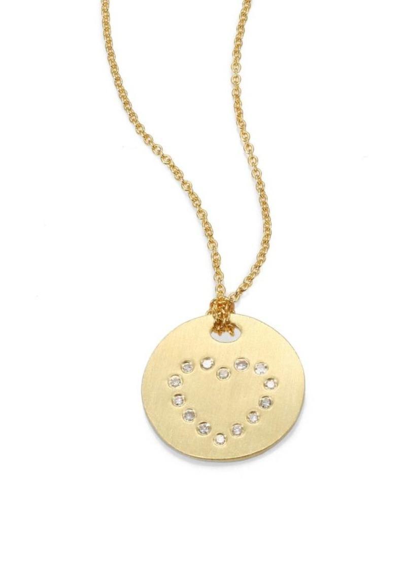 Roberto Coin Tiny Treasures Diamond and 18K Yellow Gold Heart Disc Pendant Necklace