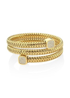 Roberto Coin Tiny Treasures Prima 18K Gold & Diamond Coiled Cuff Bracelet