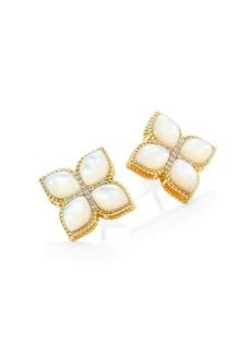 Roberto Coin Venetian Princess 18K Yellow Gold, Mother-of-Pearl & Diamond Stud Earring