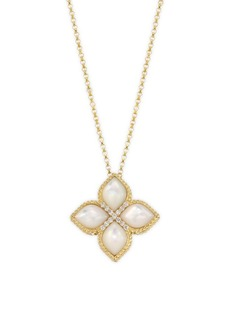 Roberto Coin Venetian Princess Diamonds, Mother-of-Pearl & 18K Yellow Gold Pendant Necklace