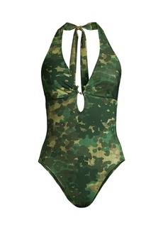 Robin Piccone Eden Abstract Print Plunge One-Piece Bathing Suit