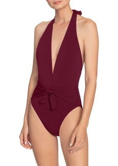 Robin Piccone Ava Plunge Wrap One-Piece Halter Swimsuit
