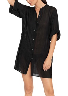 Robin Piccone Michelle Mandarin Collar Tunic Cover-Up Dress
