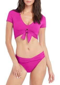 Robin Piccone Neelah Knot Front T-Shirt Bikini Top