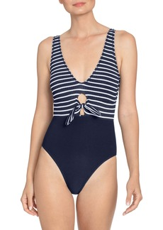 Robin Piccone Sailor Tie Front One-Piece Swimsuit