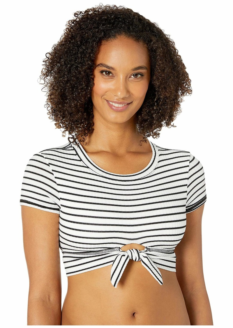 Robin Piccone Sailor T-Shirt Top w/ Front Tie