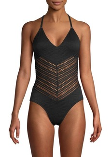 Robin Piccone Textured One-Piece Swimsuit