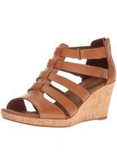 Rockport Women's Briah Gladiator Wedge Sandal Dark tan Leather  US