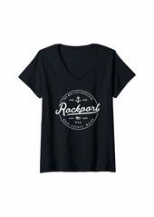 Womens NAUTICAL Anchor Rockport Maine Travel Vacation V-Neck T-Shirt