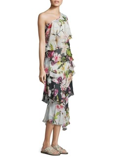 Rococo Sand Floral Silk One-Shoulder Dress