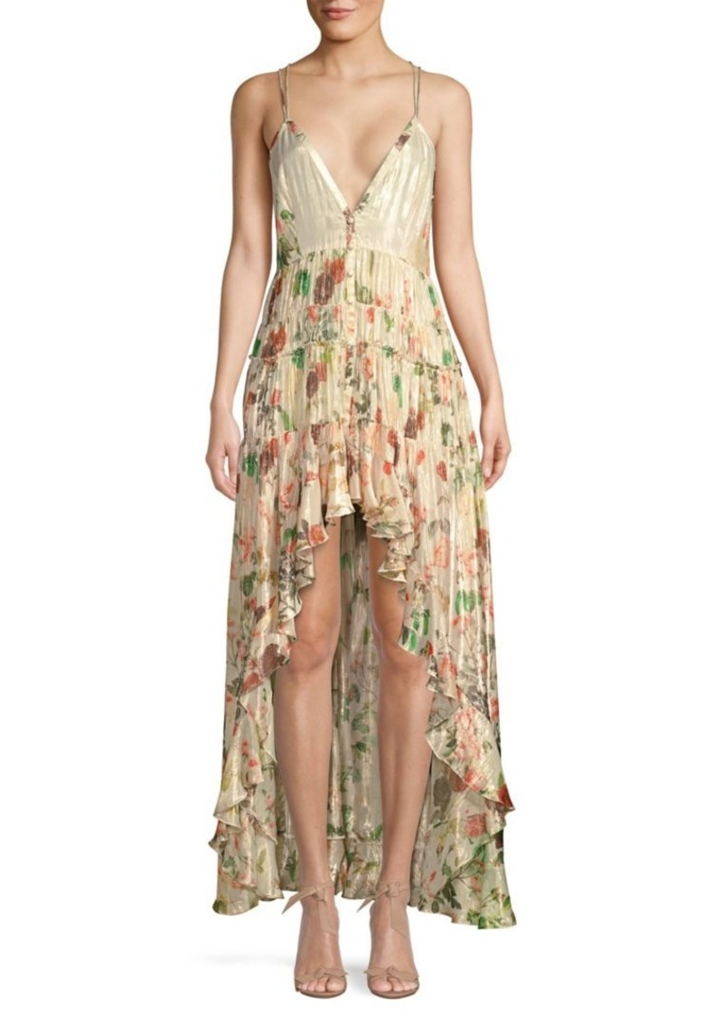 Rococo Sand Plunging High-Low Ruffle Dress