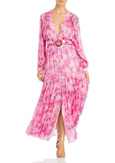 Rococo Sand Belted Floral Chiffon Maxi Dress