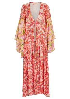 Rococo Sand Striped Floral Chiffon Robe