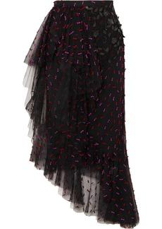 Rodarte Asymmetric Ruffled Appliquéd Tulle Midi Skirt