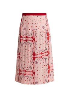 Rodarte Heart-Print Pleated Silk Skirt