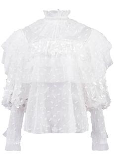 Rodarte high neck ruffle blouse