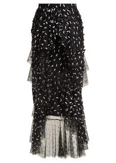 Rodarte Asymmetric floral and bow-appliqué tulle skirt