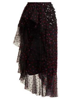 Rodarte Asymmetric floral-appliqué tulle skirt