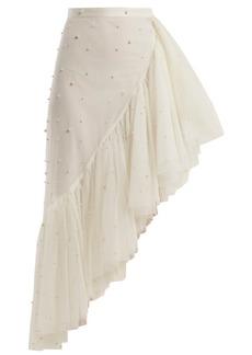 Rodarte Asymmetric pearl-embellished ruffle skirt