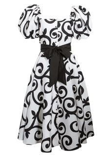 Rodarte Belted Swirl Cloqué Dress