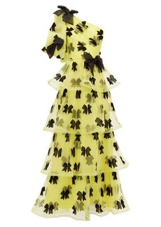 Rodarte Bow one-shoulder tiered tulle gown