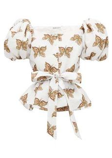 Rodarte Butterfly-print cloqué top