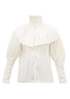 Rodarte Caped high-neck plissé voile blouse