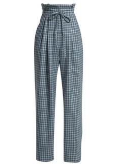 Rodarte Checked wool paper-bag trousers