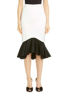Rodarte Contrast Ruffle Crepe Skirt
