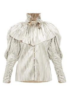 Rodarte Crystal-button pleated metallic blouse