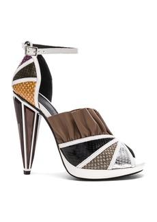 Rodarte Embossed Metallic Leather Strap Heels