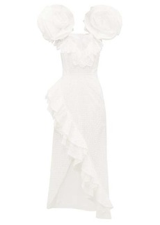 Rodarte Exaggerated-shoulder broderie-anglaise cotton gown