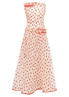 Rodarte Flocked heart-pattern tulle maxi dress