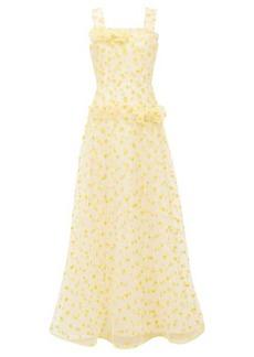 Rodarte Flocked heart-print dropped-waist tulle maxi dress