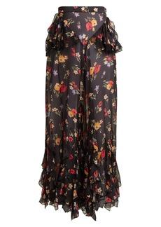 Rodarte Floral-print wide-leg silk-blend chiffon trousers