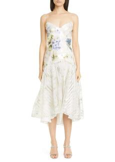 Rodarte Floral Sequin High/Low Slip Dress