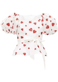 Rodarte Glitter-heart tulle and silk-taffeta top