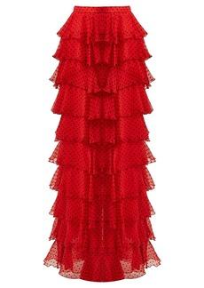 Rodarte High-rise tiered silk-chiffon skirt