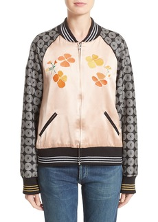 Rodarte LA Poppy Embroidered Bomber Jacket