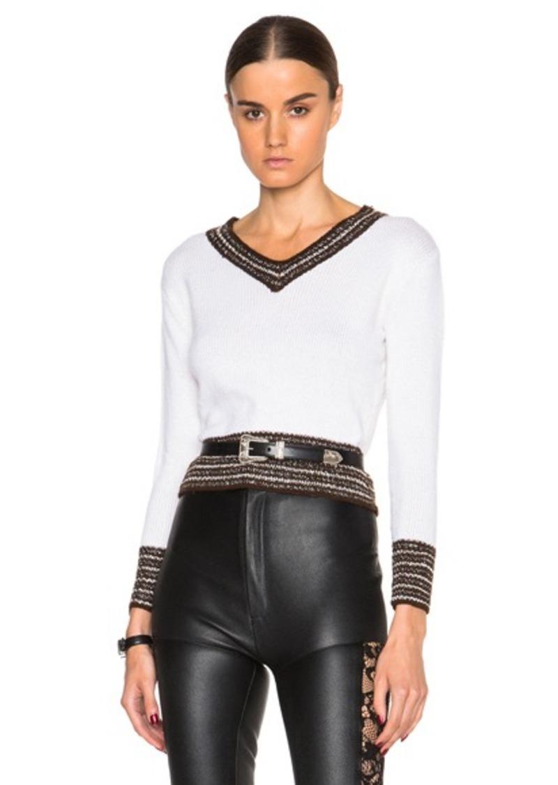 Rodarte Metallic Cashmere Rib Knit Sweater