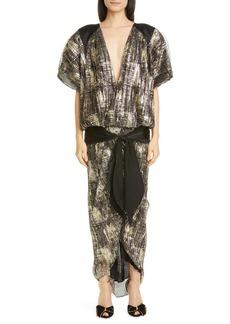 Rodarte Metallic Plissé Pleat Drop Waist Maxi Dress