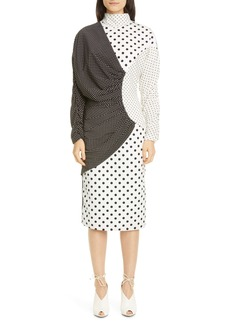 Rodarte Mixed Polka Dot Long Sleeve Dress