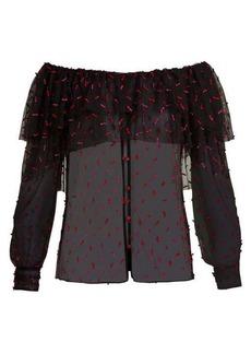 Rodarte Off-the-shoulder tulle blouse