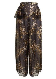 Rodarte Palm-print silk-blend chiffon trousers